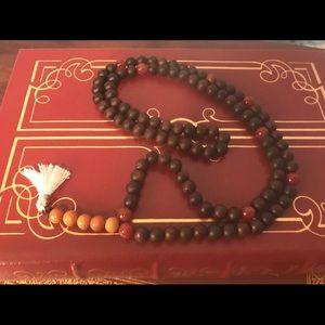 Jewelry - Handmade stone and wood mala necklace unisex